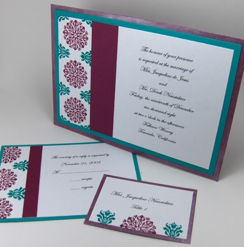 And here is the invitation set with a gatefold wedding invitation
